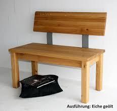 Sitzbank Esszimmerbank Sitzbank 120x83x53cm Mit Verjüngter Rückenlehne Massivholz Geölt