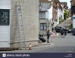 rye east sussex england uk view up mermaid street houses