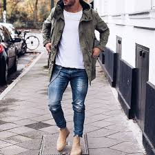 light tan suede chelsea boots men s olive lightweight parka white crew neck t shirt blue jeans