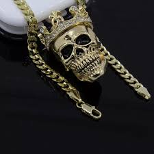 skull link necklace images Accessories 14k iced out skull 30 cuban link chain poshmark jpg
