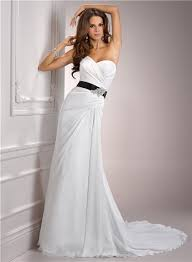 black sash simple a line sweetheart chiffon wedding dress with black sash