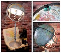 world globe home decor vintage steam punk industrial re purposed world globe swivel desk