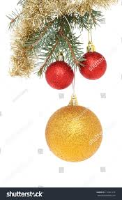 gold baubles tinsel hanging stock photo 116501476