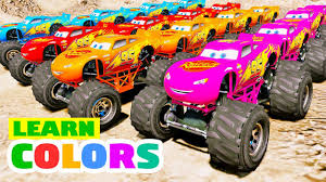 monster truck videos kids learn colors for kids lightning mcqueen disney cars color monster