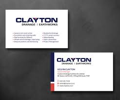 Business Card For Construction Company Professional Bold Business Card Design For Clayton Drainage