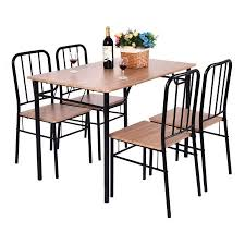 Metal Wood Chair Costway 5 Piece Dining Set Table And 4 Chairs Metal Wood Home