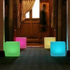 color changing outdoor lights light up cube seat
