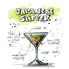 martini silhouette vector hand drawn illustration of cocktail japanese slipper vector