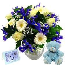 baby flowers baby boy flower gift set fresh flowers to celebrate a new baby boy