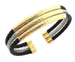 black bracelet men images Black silver gold triple rope wire cuff kada bracelet men rs 260 jpg