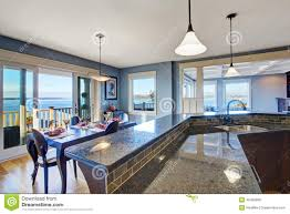 luxury kitchen cabinet with granite top and tile trim stock photo