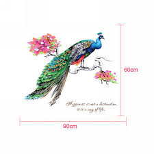 60x90cm fancy peacock wall sticker vinyl living room decal home