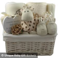 baby gift basket hamper cream unisex neutral baby shower nappy