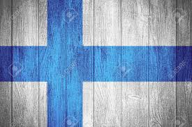 Finnish Flag Finland Flag Or Finnish Banner On Wooden Boards Background Stock