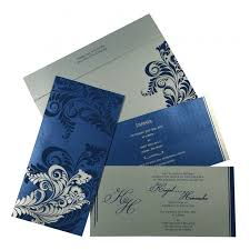 Customized Wedding Invitations Blue Shimmery Floral Themed Screen Printed Wedding Invitations