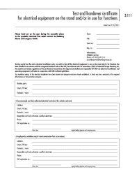 electrical minor works certificate template equipment handover certificate template fill online printable