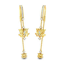 sui dhaga earrings design diamond yellow gold 18k lotus sui dhaga candere