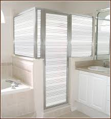 decorative glass shower doors secure view one way film creates privacy with a view you can see