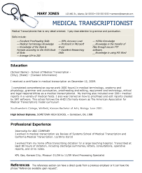 Medical Transcriptionist Resume Sample by Medical Transcription Resume Format Resume Format