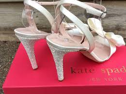 kate spade idella pump ivory satin bow glitter heel 10 sandal