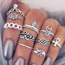 silver rings set images Fashion boho vintage gold and silver ring set 10 pcs jpg