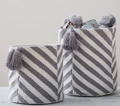 Pottery Barn Storage Bins Gray Chevron Tassel Storage Pottery Barn Kids