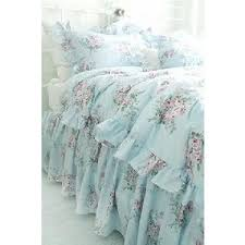 shabby beach cottage blue pink roses chic ruffles full queen