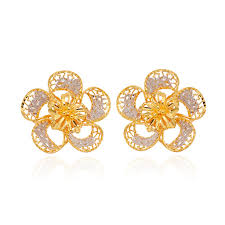 beautiful gold earrings images gift for beautiful flower 22kt yellow gold earring