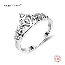 rings bridal 925 sterling silver wedding band rings princess crown rings bridal