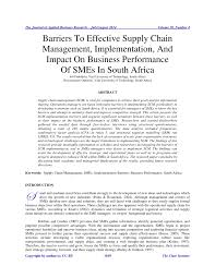 barriers to effective supply chain management implementation and