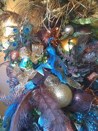 Chocolate Brown Christmas Tree Decorations by Blue And Copper Peacock Christmas Tree Trendy Tree Blog Holiday