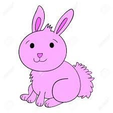 vector cute pink bunny rabbit cartoon character royalty free
