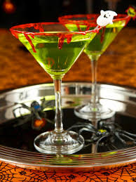 apple martini bar zombie slime shooters halloween cocktail recipe hgtv