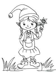 printable elf girl printable elves elf coloring pages girl elf coloring page pages 2