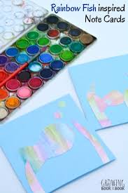 watercolor notecards pre writing activity rainbow fish note cards
