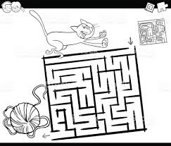 maze with cat and wool coloring page stock vector art 800352736