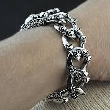bracelet skull silver images Men 39 s sterling silver skulls bracelet jpg