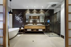 japanese doors perth japanese inspired screen doors glass shower bath dark tiles mirror double sinks house in burns