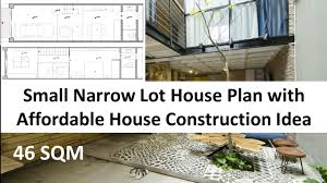 small narrow lot house plan with affordable house construction