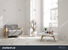 white room armchair winter landscape window stock illustration