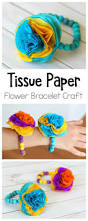 tissue paper flower bracelet craft for kids flower bracelet
