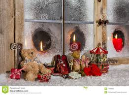 Pictures Of Christmas Window Decorations by Christmas Window Decoration Candles With Old Children Toys Stock