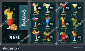blue martini restaurant vector cocktails set restaurant menu martini stock vector