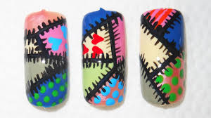 how to do a colorful patchwork nail art design youtube