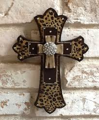 home decor crosses leopard print cross wall cross rhinestone cross leopard home decor