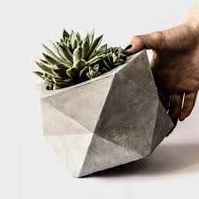 pentoid large concrete geometric planter for succulent cactus