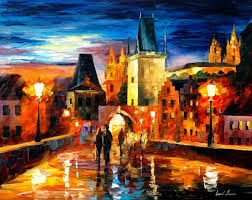 night in prague palette knife oil painting on canvas by leonid