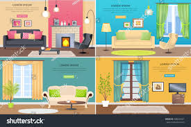 apartment interiors web banners set elegant stock vector 588634001