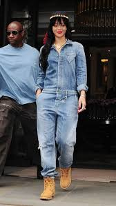 rihanna jumpsuit rihanna in denim jumpsuit to wear metro