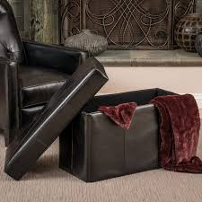 nottingham black bonded leather storage ottoman bench by